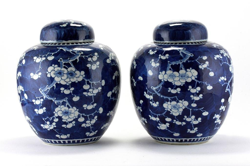 22: PAIR OF ANTIQUE CHINESE BLUE AND WHITE GINGER JARS