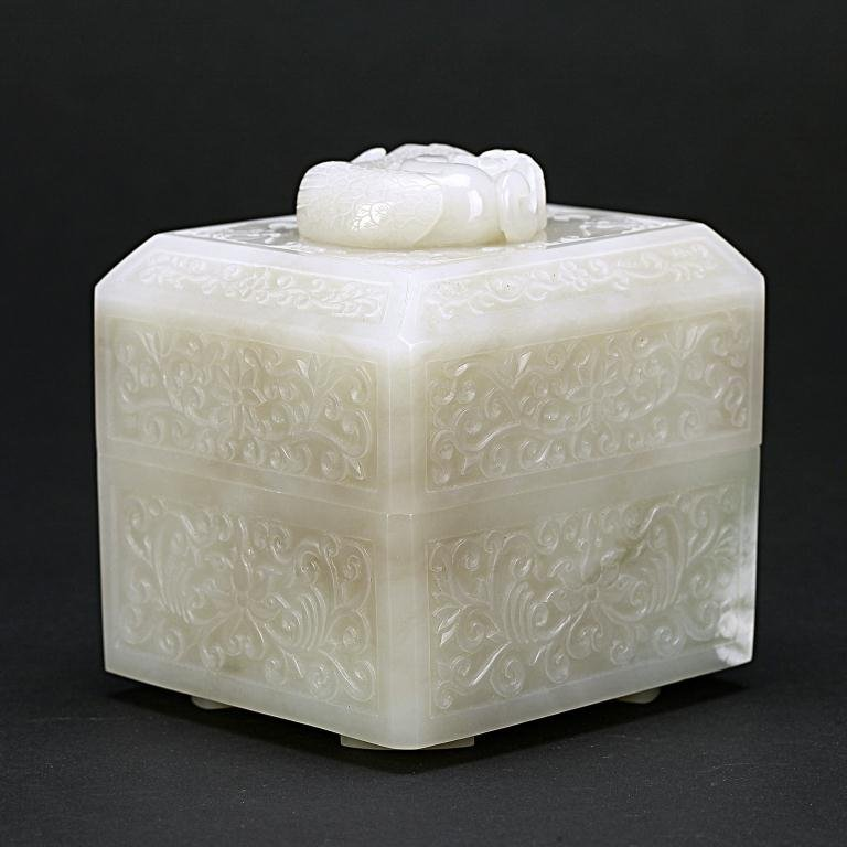1: EXQUISITE ANTIQUE CHINESE WHITE JADE BOX AND COVER