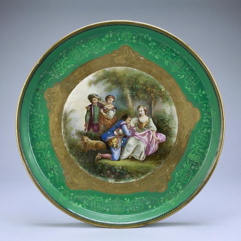 3: HAND-PAINTED FRENCH GILT PORCELAIN CHARGER