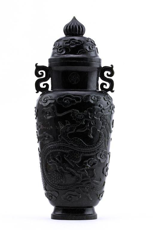 15: CHINESE HETIAN JADE VASE WITH COVER