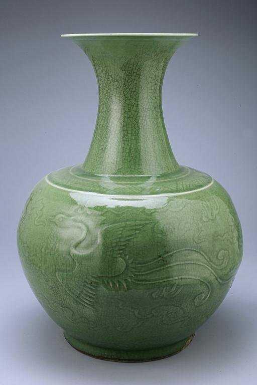 168 Antique Chinese Celadon Porcelain Dragon Vase
