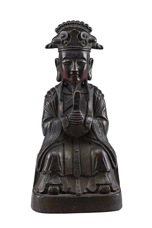 3: MING PERIOD CHINESE BRONZE FIGURE OF A SCHOLAR