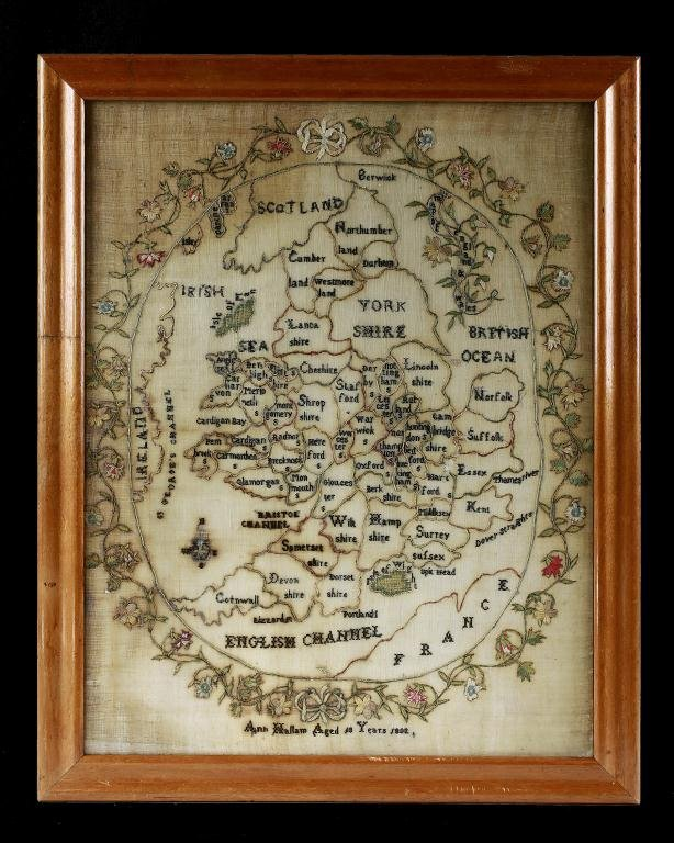 9: ANTIQUE FRAMED HAND SEWN MAP OF ENGLAND