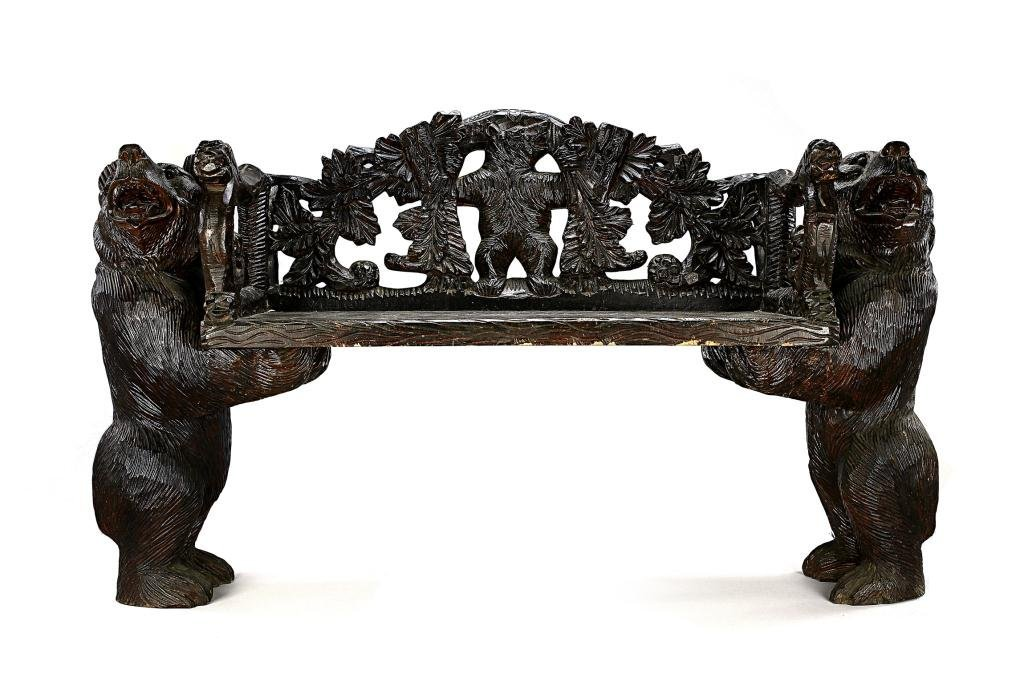 14: CARVED WOOD BENCH WITH CARVED DESIGN OF BEARS
