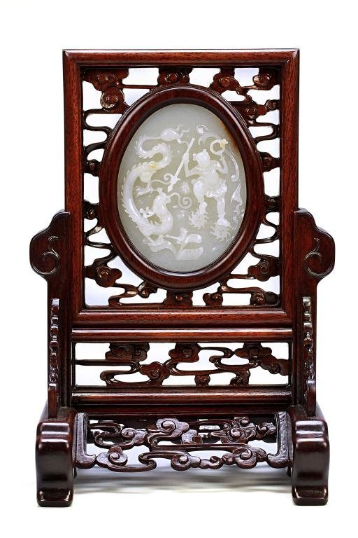 19: CHINESE WHITE JADE TABLE SCREEN