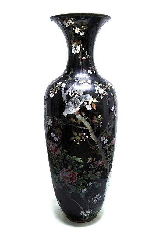 21 Large Japanese Black Ground Cloisonn Floor Vase