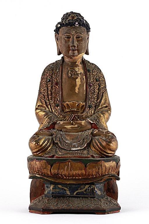 22: CARVED WOOD FIGURE, OF A SEATED BUDDHA