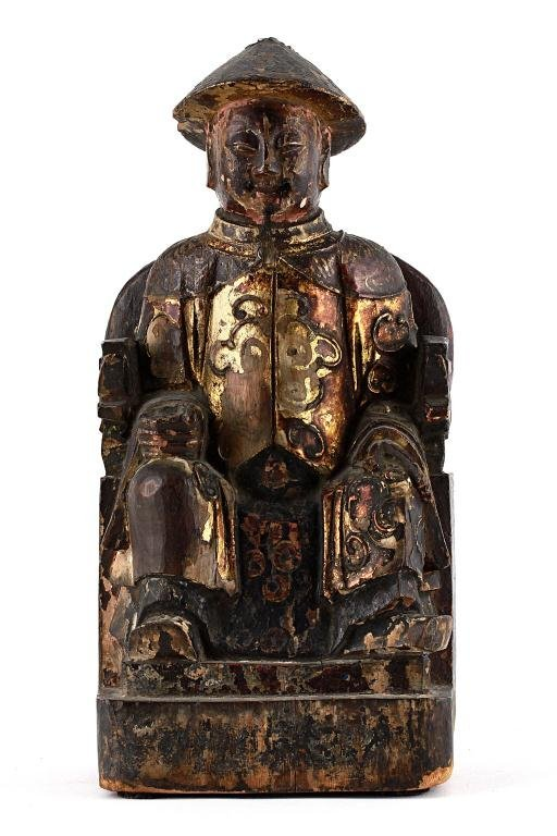 23: CARVED WOODEN FIGURE, OF A SEATED BUDDHA