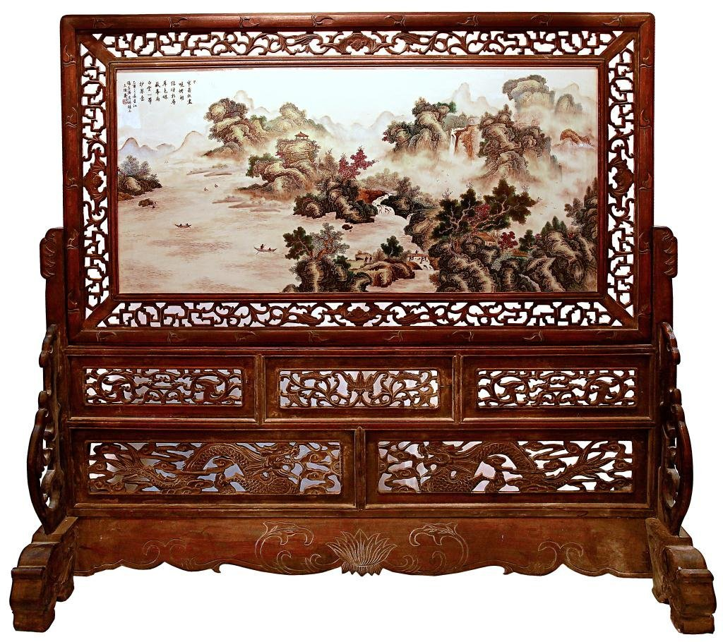 88: LARGE CHINESE PORCELAIN PANEL PAINTING FLOOR SCREEN