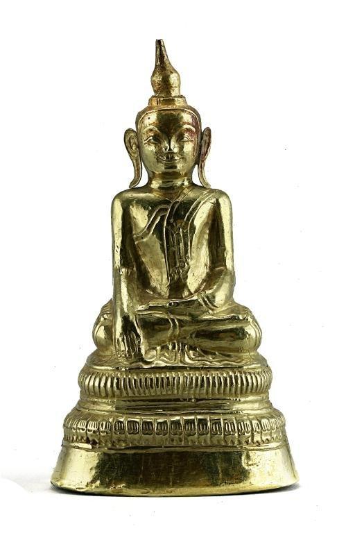 8: TIBETAN 18TH CENTURY PURE GOLD SHIELD BUDDHA
