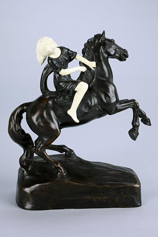 2: AUSTRIAN BRONZE AND IVORY GIRL ON A HORSE,SIGNED