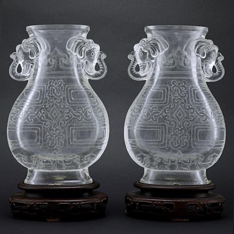 18: PAIR OF CHINESE ROCK CRYSTAL LIKE VASES