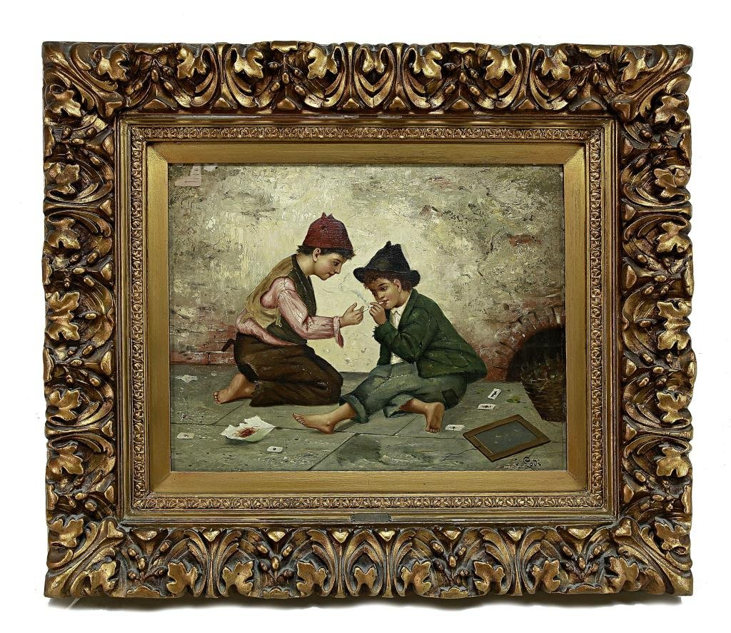 21: 19TH CENTURY OIL PAINTING ON CANVAS OF TWO BOYS