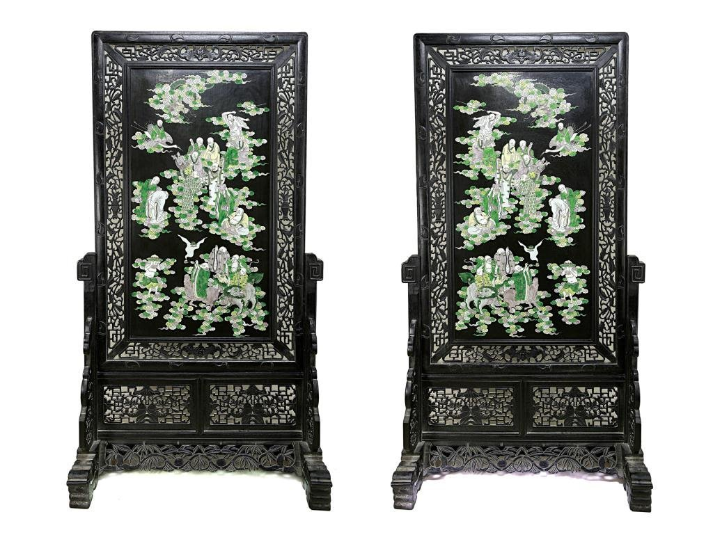 186: PAIR OF ANTIQUE CHINESE PORCELAIN SCREENS