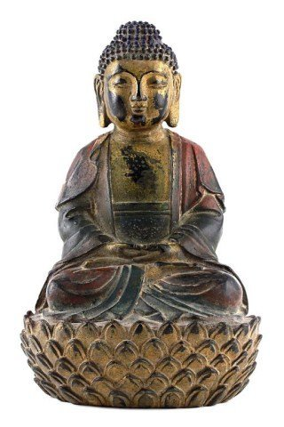 ANTIQUE CHINESE BRONZE FIGURE OF A SEATED BUDDHA