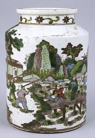 CHINESE FAMILLE VERTE TEA CADDY