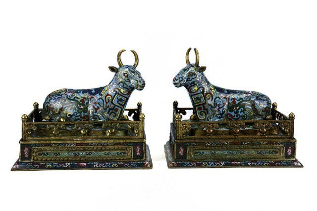 PAIR OF CHINESE CLOISONNÉ BULLS