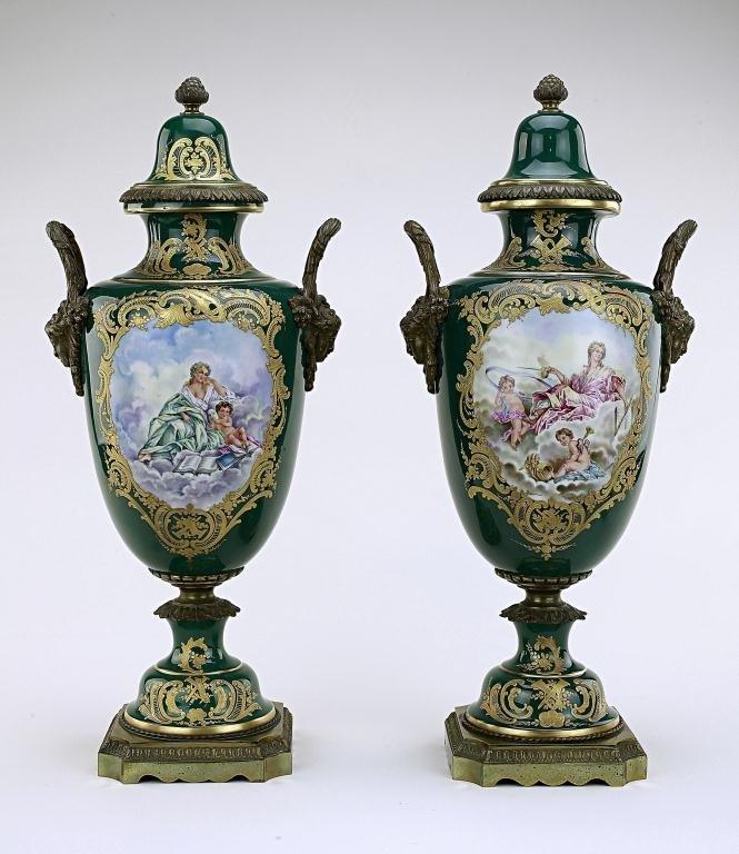 PAIR OF ANTIQUE FRENCH SEVRES PORCELAIN VASES