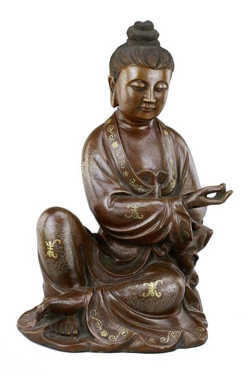 ANTIQUE CHINESE BRONZE FIGURE OF A SEATED GUANYIN