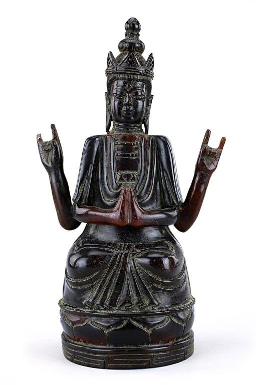 CHINESE CARVED HORN FIGURE OF A SEATED BUDDHA