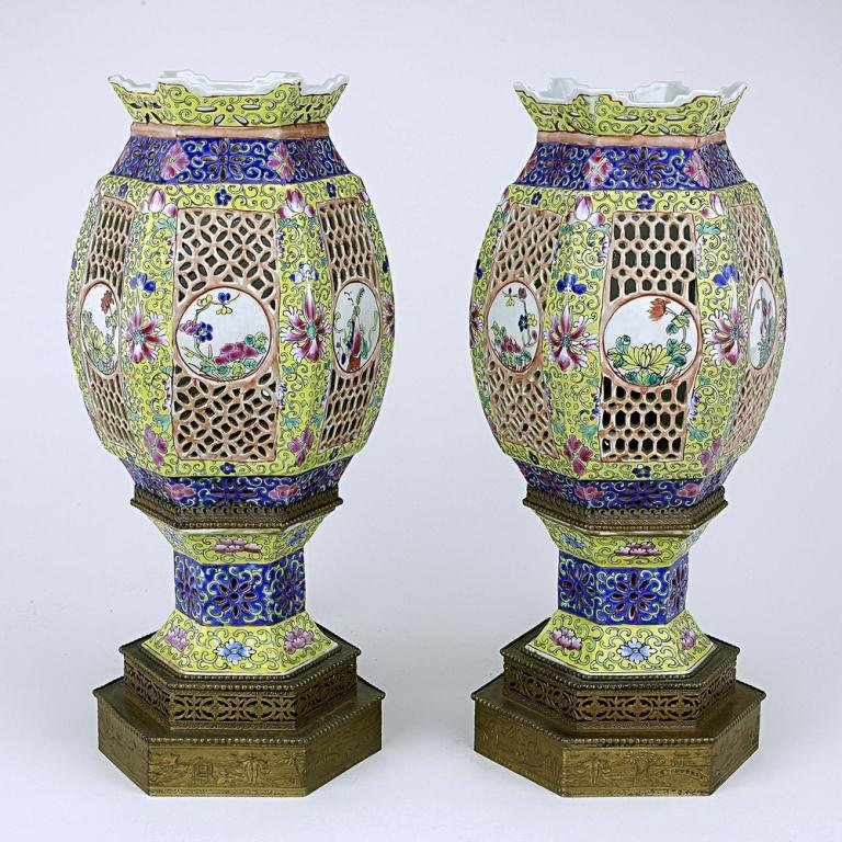 PAIR OF CHINESE RETICULATED LANTERNS, SET AS LAMPS