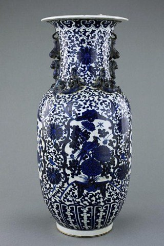 9: TALL ANTIQUE CHINESE BLUE AND WHITE PORCELAIN VASE