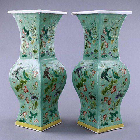 10: PAIR OF CHINESE TURQUOISE GROUND PORCELAIN VASES