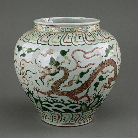 3: ANTIQUE CHINESE WU CAI 'DRAGON' JAR
