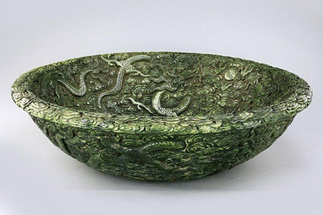 18: LARGE CHINESE SPINACH JADE HAND CARVED DRAGON BOWL