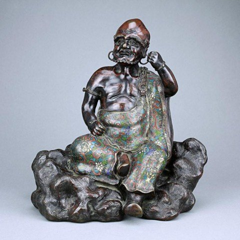 22: CHINESE CLOISONNÉ FIGURE OF A LOUHAN