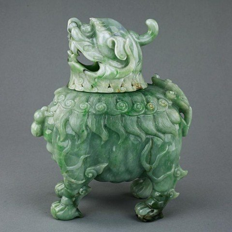 85: CHINESE CARVED JADEITE OF A PIXIU INCENSE BURNER