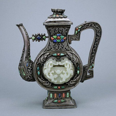 CHINESE SILVER LIDDED EWER WITH JADE PLAQUE IN-LAY