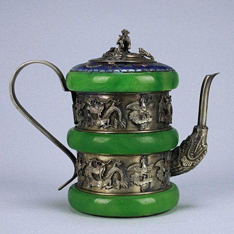CHINESE SILVER TEAPOT WITH JADE INLAY