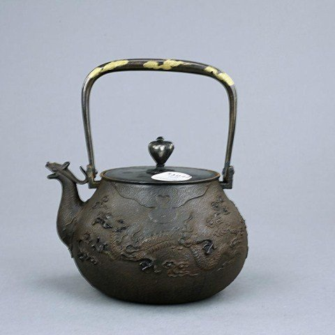 JAPANESE GOLD IN-LAID ZOUROKU BRONZE TEAPOT
