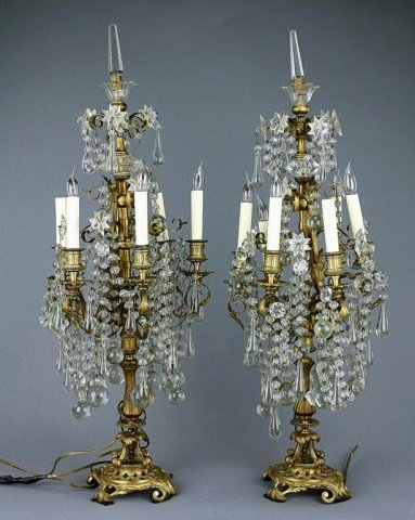 PAIR OF SIX-BRANCHED FRENCH BRONZE CANDELABRA