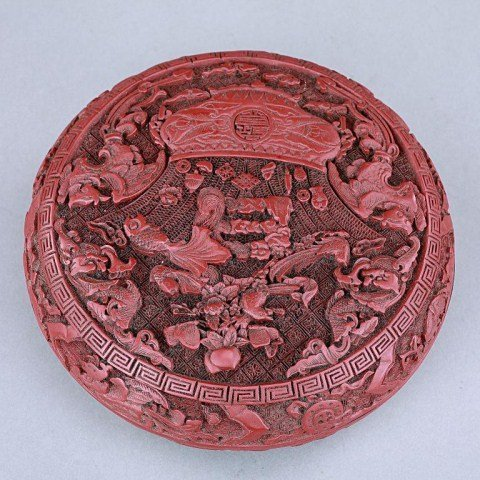 ANTIQUE ROUND CHINESE CINNABAR LACQUERED BOX