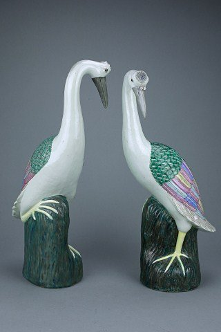 PAIR OF CHINESE PORCELAIN FIGURES OF CRANES