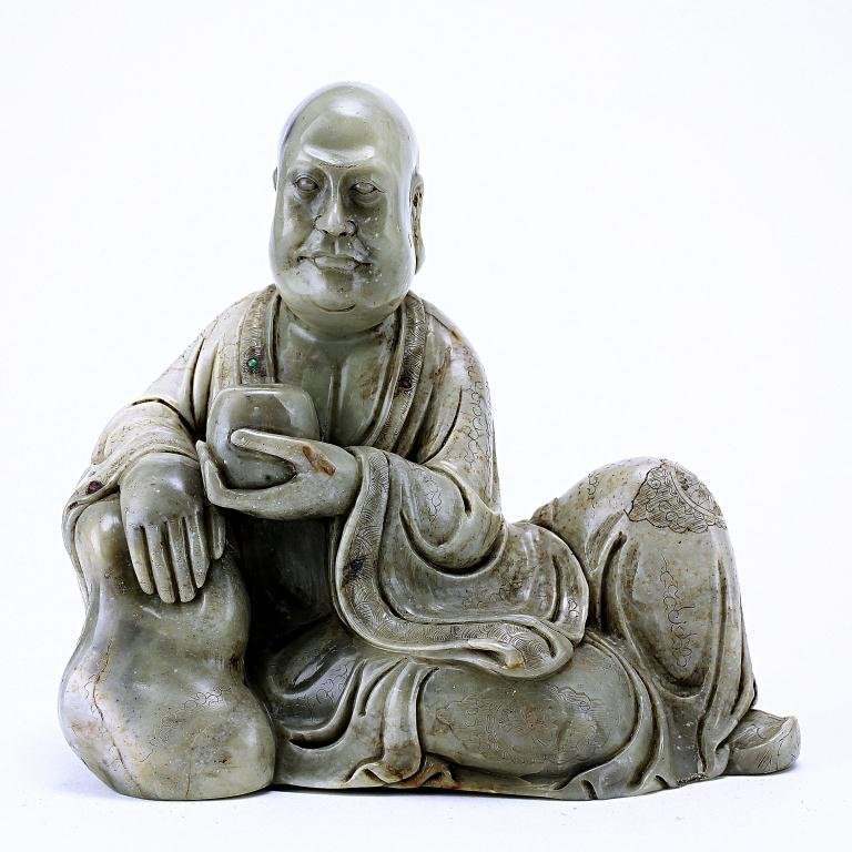 3: CHINESE SOAPSTONE FIGURE OF A LOUHAN