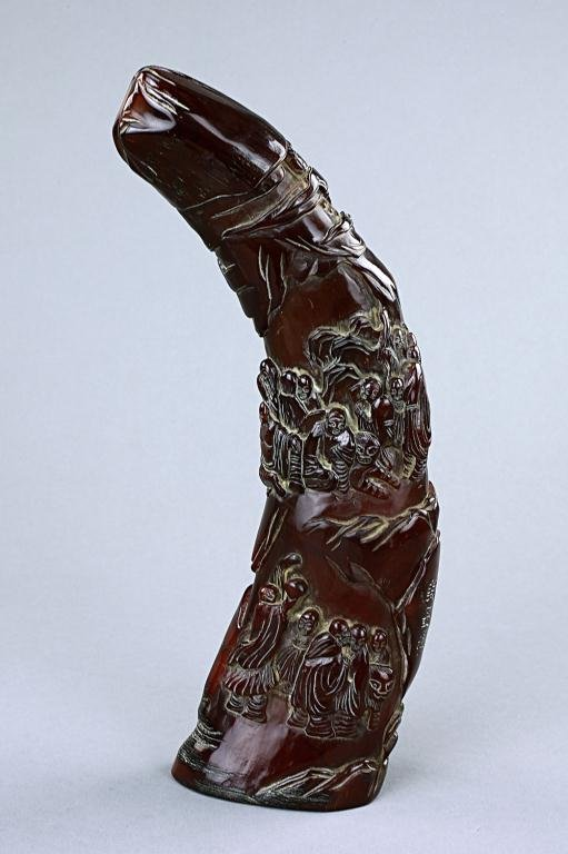 6: CHINESE CARVED HORN WITH FIGURES AND CALLIGRAPHY