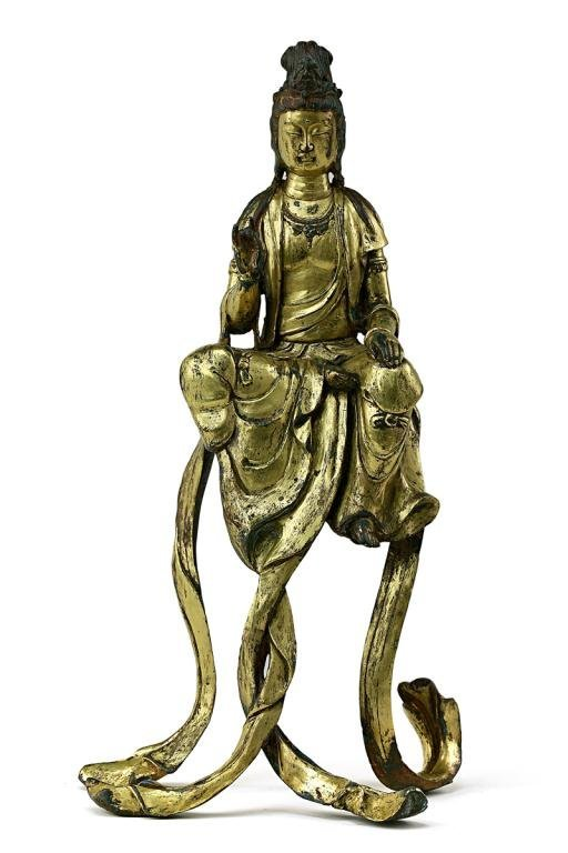 10: ANTIQUE CHINESE GILT-BRONZE FIGURE, OF A GUANYIN