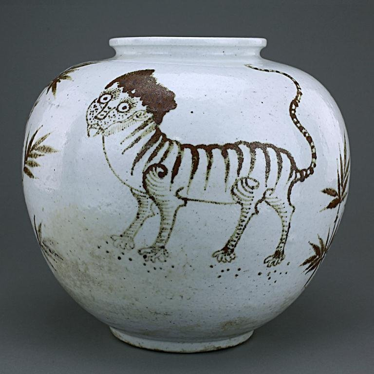 18: KOREAN IRON RED AND WHITE JAR
