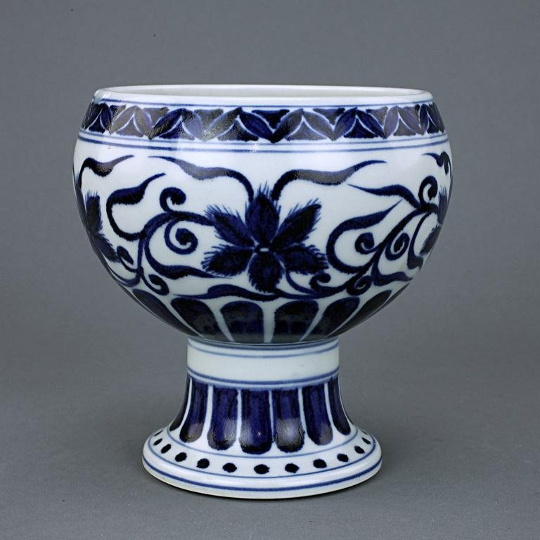 24: CHINESE BLUE AND WHITE HIGH FOOT BOWL