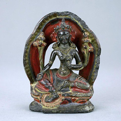 174: TIBETAN CARVED STONE OF A SEATED BUDDHA