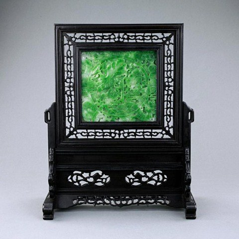 9: CHINESE JADEITE PLAQUE TABLE SCREEN