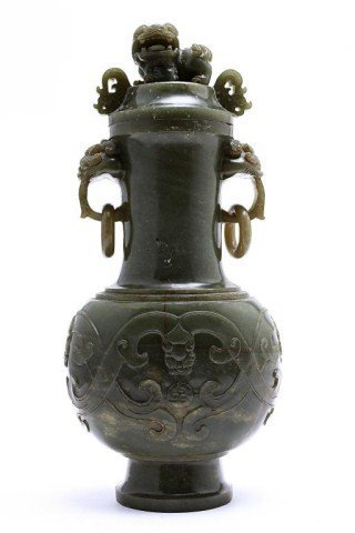 13: CHINESE SPINACH JADE LIDDED URN