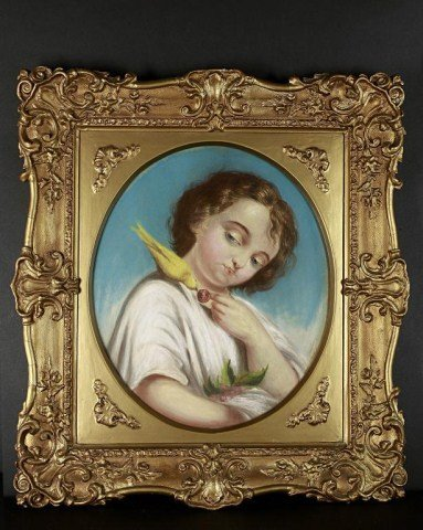 3: PASTEL PORTRAIT OF A BOY PLAYING WITH  A CANARY