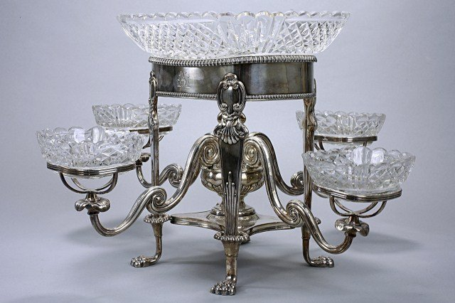 9: OLD SHEFFIELD SILVER PLATED EPERGNE CENTERPIECE