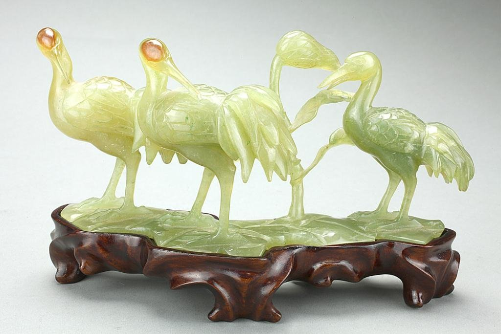 13: CHINESE CARVED JADE FIGURE OF THREE CRANES