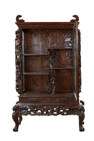 46: CHINESE CARVED HARDWOOD DISPLAY CABINET ON STAND