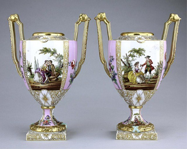 1: PAIR OF ANTIQUE PINK  AND GILDED DRESDEN VASES